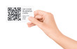 Hand Showing QR Code Business Card