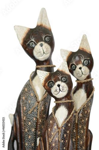 wooden cat figures