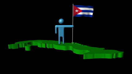 Abstract man with fluttering flag on Cuba map animation
