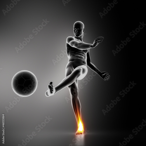 Soccer player ankle joint injury