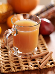glass of apple cider with fall themed background.