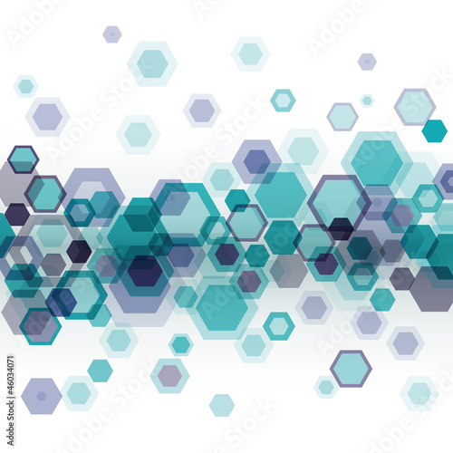 Blue geometrical background with hexagons over white. Eps10