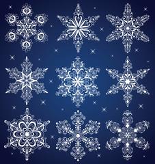 Nine snowflakes.