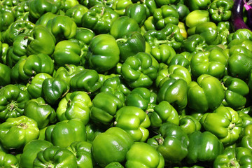 Green sweet pepper, cooking raw material.