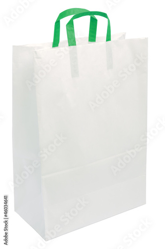 White Paper Bag, Green Handles, Isolated Closeup Copy Space