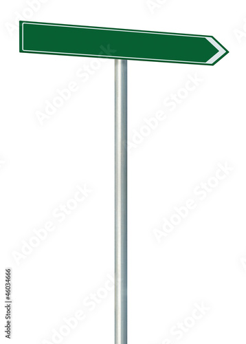Right road route direction pointer this way sign, green isolated