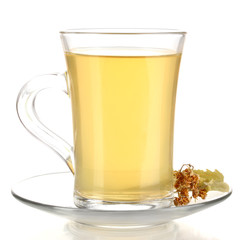 Glass cup of tea with linden isolated on white