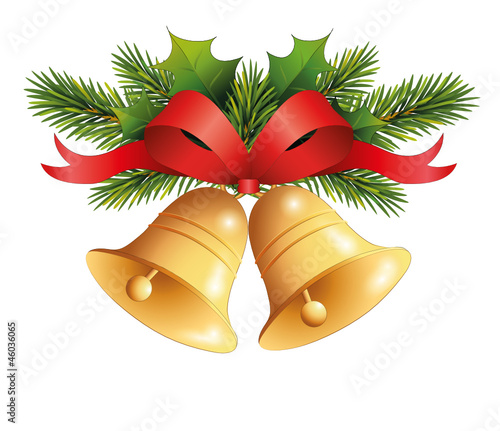 Weihnachtsglocken mit Tannen/Mistel-zweige u. Schleife