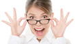 Funny happy portrait of asian woman wearing glasses eyewear