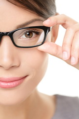 Eyewear glasses woman closeup portrait