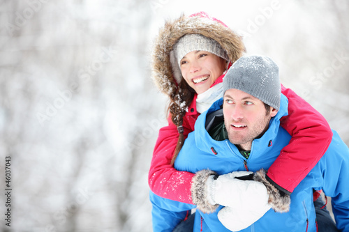 Happy winter travel couple