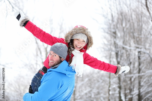 Winter fun couple