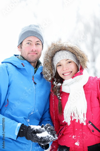 Couple in winter portrait