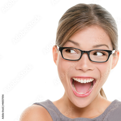 Excited woman looking