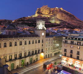 Alicante city, town hall square & castle. Spain