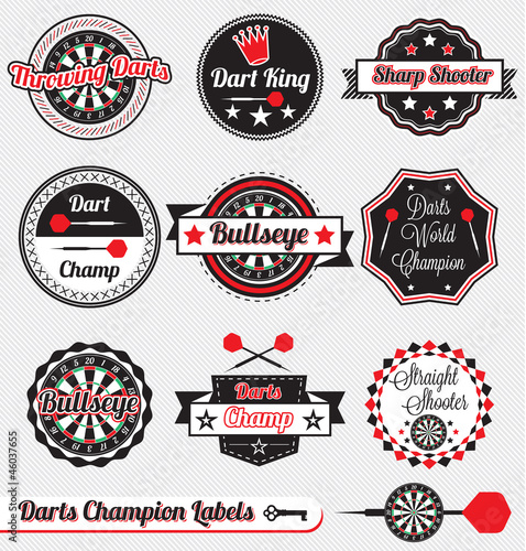 Vector Set: Vintage Darts Champion Labels and Icons