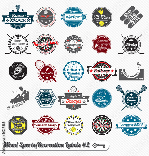 Vector Set: Vintage Mixed Sports Labels and Icons
