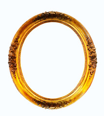 oval gilded frame. Isolated over white background