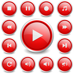Set of 13 music and video buttons