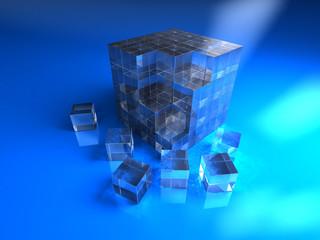 Blue glassy cube