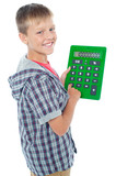 Pleasant young student using a large green calculator poster