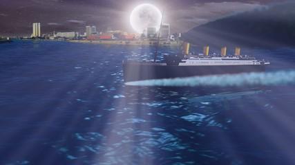 TITANIC sailing over sea at night