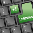 Testimonials computer key shows recommendations