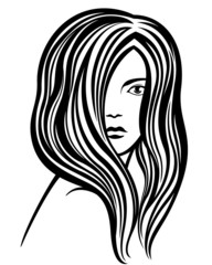Young woman's portrait line-art illustration
