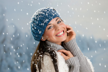 Happy winter with snow