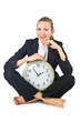 Woman with clock on white
