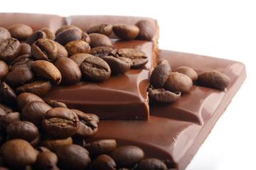 macro shot of chocolate and coffee beans