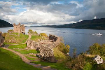 Urquhart castlle with Loch Ness in background