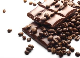 chocolate bars and coffee beans