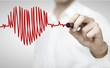 Leinwanddruck Bild - drawing chart heartbeat