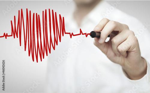 Leinwanddruck Bild drawing chart heartbeat