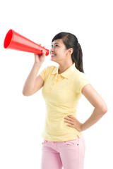 Girl with bullhorn