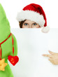 Women with santa hat presenting white message board