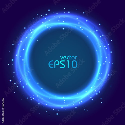 Abstract blue glowing circle
