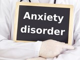 Doctor shows information: anxiety disorder poster