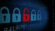 Protection blue and red computer locks video screen animation