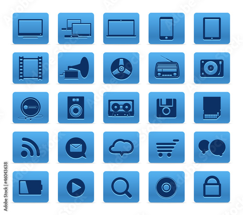 Modern Social media buttons collection isolated on white