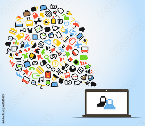Abstract speech cloud of pixel icons and computer