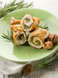 stuffed roll of turkey with chestnut and rosemary,selective focu