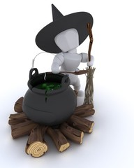 witch with cauldron of eyeballs on log fire