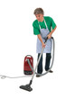 Man with vacuum cleaner