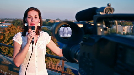 TV reporter on assignment