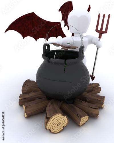 deamon with cauldron of eyeballs on log fire