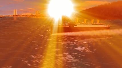 TITANIC sailing in jeddah at sunset