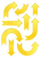żółte strzałki zestaw na białym tle