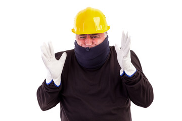 Worker suffering cold with arms up